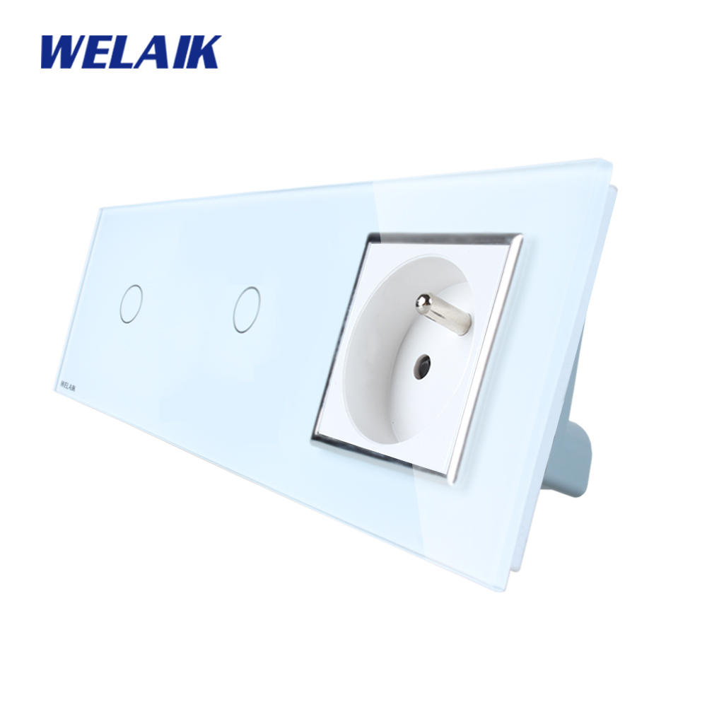 WELAIK 3Frame Crystal Glass Panel   Wall Switch France Touch Switch  France Wall  Socket 1gang1way AC110~250V A3911118FCW/B smart home us au wall touch switch white crystal glass panel 1 gang 1 way power light wall touch switch used for led waterproof