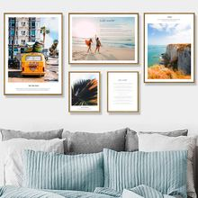 цена Yellow Bus Beach Sea Life Quote Palm Leaf Wall Art Canvas Painting Nordic Posters And Prints Wall Pictures For Living Room Decor