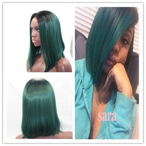 1 Btbd Hitam Untuk Dark Teal Hijau Turquoise Sintetis Renda Depan Wig Glueless Ombre Tone Warna