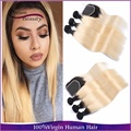 Malaysian straight 1b/613 two tone ombre hair weave 4pc with closure blonde dark roots ombre 613 human hair bundles with closure