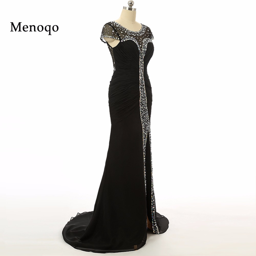 Formal   Evening     Dress   2018 With Mermaid Scoop Crystal Sexy Front Split See Through Vestidos De Noche Long Party Gown