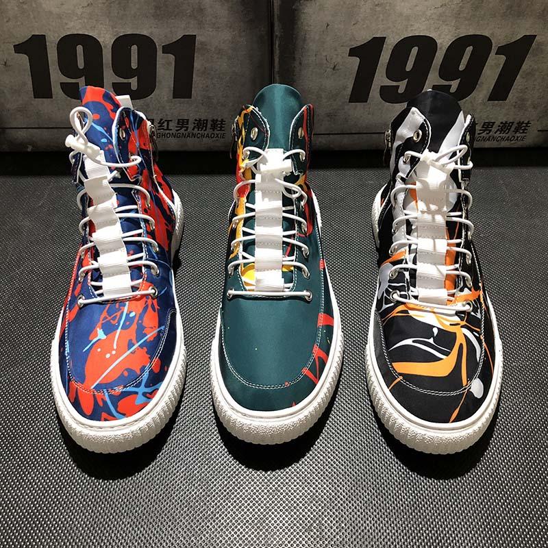 Maggie's Walker nouveauté hommes toile chaussures décontractées mode laçage Floral plate-forme haut-haut toile chaussures de marche taille 39 ~ 43 - 3