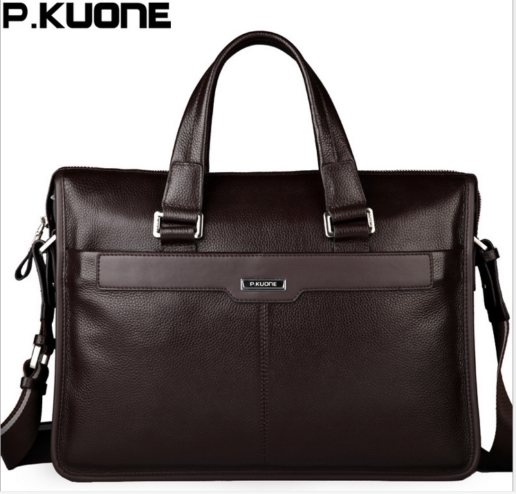 P Kuone Shoulder Handbag Men S Casual Genuine Leather Business Bag Briefcase For15 Inch Notebook Computer