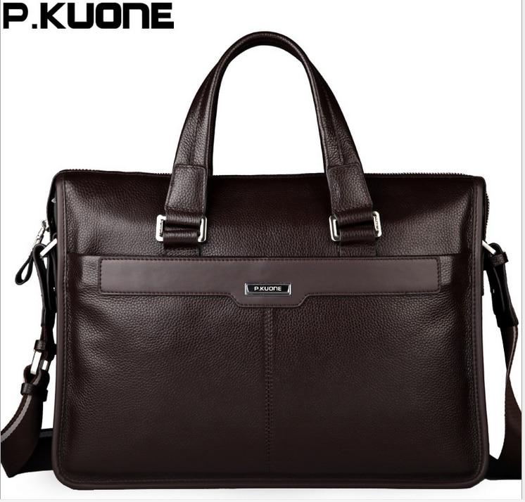 P.KUONE Men Shoulder Messenger Bag Men's Genuine Leather Business Briefcase, Man Bag For 15.6' Laptop Computer 2018 Male Handbag
