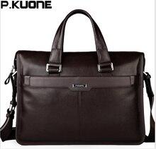 P. KUONE для мужчин сумка из натуральной кожи Бизнес Портфели, человек для 15,6 'ноутбук 2018 мужской сумки
