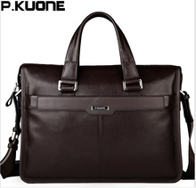 P.KUONE men shoulder messenger bag men's genuine leather Business briefcase, man bag for 15.6' laptop computer 2018 male handbag