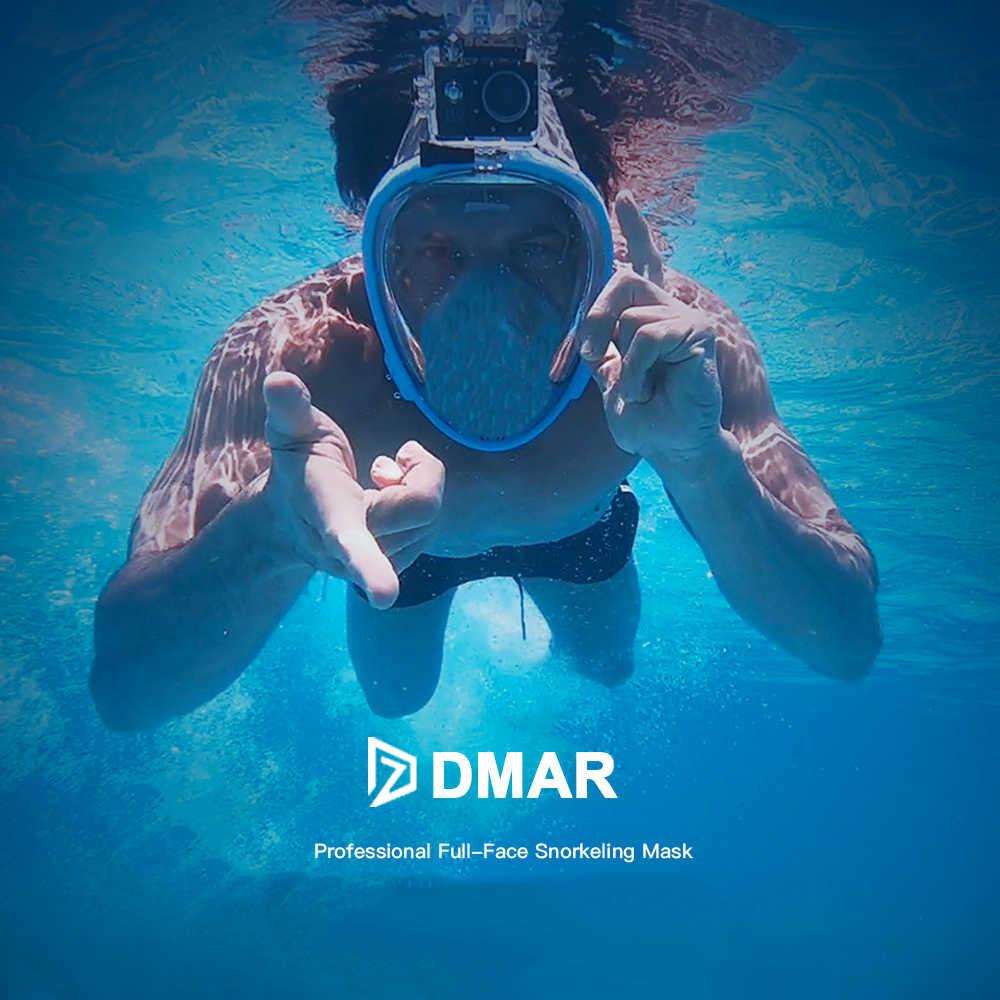 DMAR Tam Yüz Bl Dalış anti-sis Katlanır yüzme çocuk yetişkin şnorkel maske Sualtı Tüplü Gözlük Aparatı Eğitim