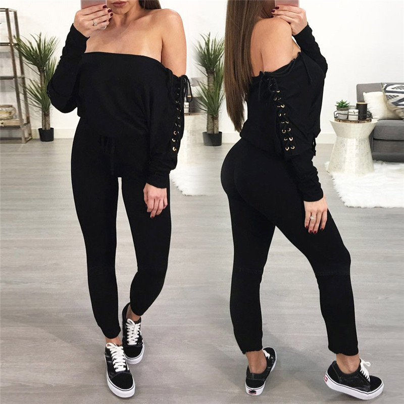 Sexy Women Off Shoulder Bandage Playsuit   Jumpsuit   Long Sleeve Lace Up Bodycon Fashion Clothes   Jumpsuit   Trousers