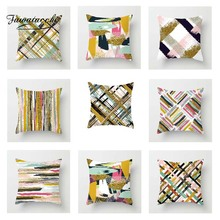 Fuwatacchi Cross Colorful Gradient Stripe Cushion Cover Gold Line Throw Pillow Cover Decorative Pillow Cover Sofa Pillowcase цены
