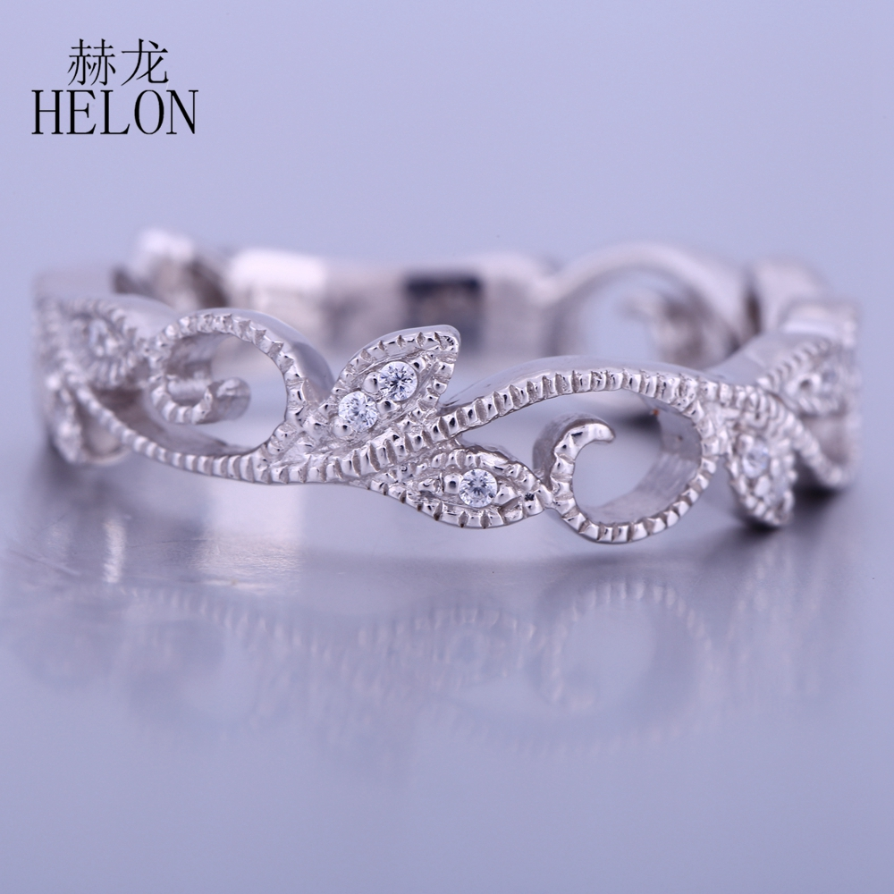 HELON Vintage Filigrana Eternity Art Nouveau Band Pave Diamanti Naturali Cerimonia Nuziale di Aggancio Anello Solido 10 k White Gold Diamond Ring