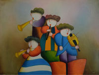 Лидер продаж 100% расписанную маслом на холсте мультфильм дети играют инструмент стены картину для детской комнаты украшения