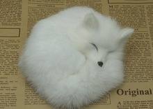 cute small white sleeping simulation fox toy beautiful doll resin&fur gift about 14x5cm