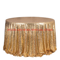 10PCS Gold Sequin Embroidery Tablecloth For Wedding Hotel Party Sparkling Table Cloth Round Table Cover Decoration Table Overlay