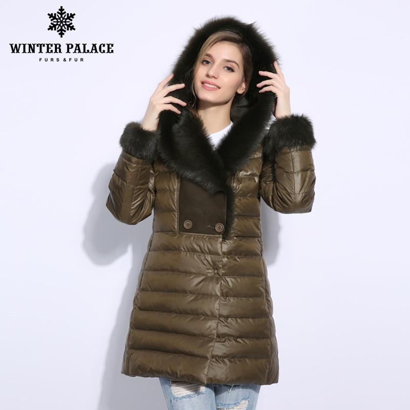 2018 Hiver long duvet de canard veste femmes Réel col de fourrure manteau De Fourrure vêtements de Femmes vers le bas veste de Haute qualité