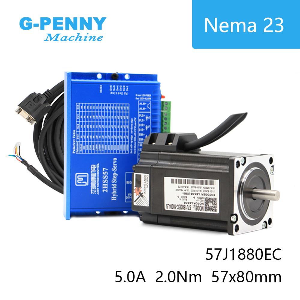 Nema23 סגור לולאה צעד מנוע 2.0N. m 4 חוטים 285Oz-in D = 8mm Nema 23 2.2Nm JMC קרוב לולאה דריכה מנוע סרוו מנוע צעד