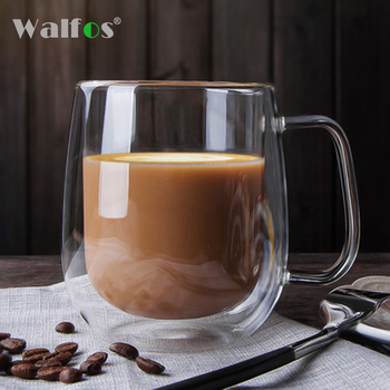 WALFOS Double Coffee Mugs With the Handle Mugs Drinking Insulation Double Wall Glass Tea Cup Creative Gift Drinkware Milk creative glass cow cups double wall handgrip milk cup mug insulation transparent drinkware udder style creamer pitcher jug