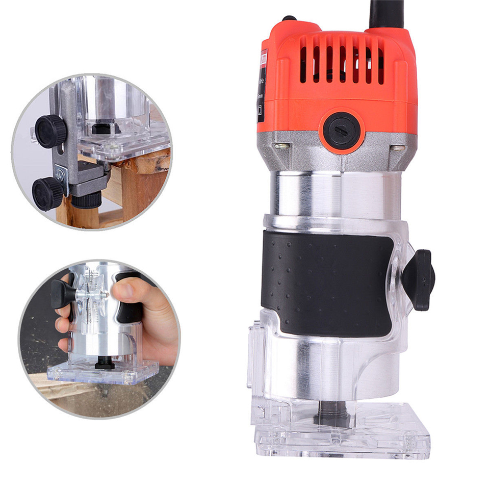 Router Trimmer 650W Durable Small Copper Motor Carving Machine 1/4 chuck Electric Woodworking Trimmer Power Tool Wood DIYRouter Trimmer 650W Durable Small Copper Motor Carving Machine 1/4 chuck Electric Woodworking Trimmer Power Tool Wood DIY