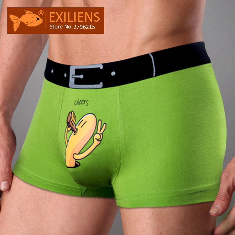 EXILIENS Brand New Mens Underwear Boxer Modal Homme Boxershorts Men Boxers Sexy Male Underpants Print Cartoon Size M-3XL 093001 エロ い ボクサー パンツ