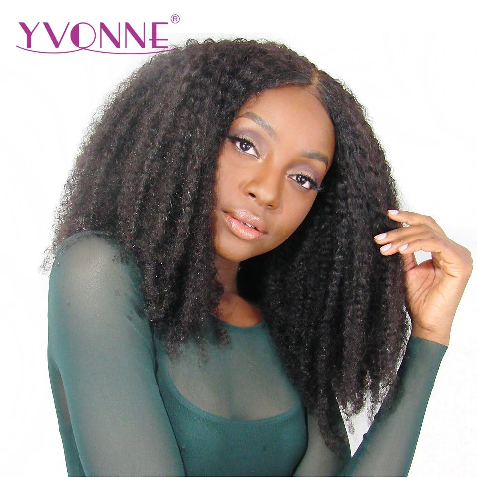 Ивонн афро кудрявый вьющиеся Синтетические волосы на кружеве человеческих волос парики для черный Для женщин плотность 180% натуральный Цве...