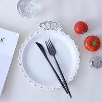 10 Inch Handpainted Crown Ceramic Dish Plate Porcelain Dinner Plate Crockery Dinnerware Decorative Tray