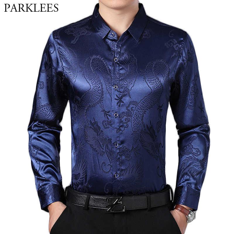 Mens Slim Fit Silk Kleid Hemd 2018 Satin Männer Smoking Hemd Chinesischen Drachen Gedruckt Männlichen Casual Shirt Camisa Sozialen Masculina 4XL