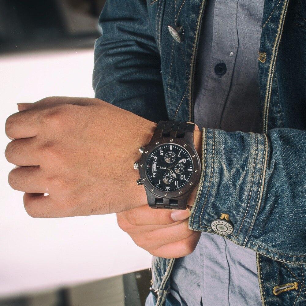 BEWELL Top marque hommes Auto Date bois montres homme chronomètre et hommes mains lumineuses analogique Quartz horloge Relogio Masculino 109D - 6