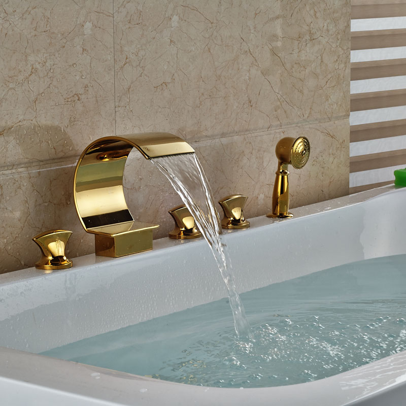 Deck Mount Curved Waterfall Spout Bath Tub Faucet Three Handles Golden Widespread Tub Filler + Handshower sitemap 17 xml