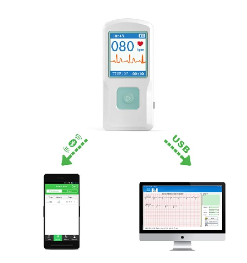 цена CONTEC PM10 Healthcare Medical Device Quick ECG Detector with Bluetooth Mobile APP Easy test ECG EKG Monitor