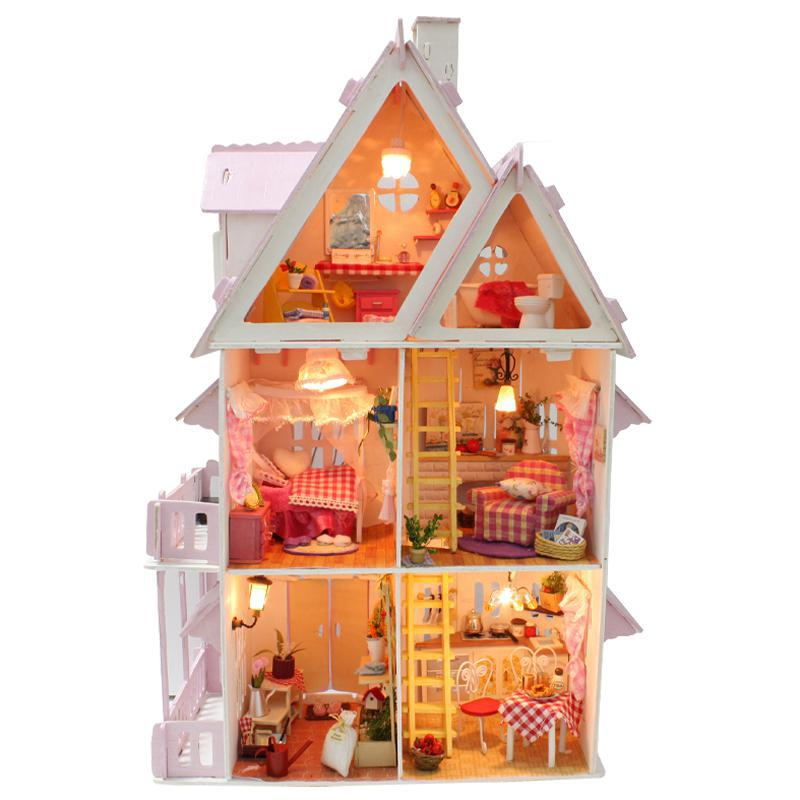 DIY Big Doll House Home Decoration Crafts Wooden Doll Houses Miniature DIY dollhouse Furniture Room LED Lights Girl Gift home decoration crafts diy doll house wooden doll houses miniature diy dollhouse furniture kit room led lights gift a 012