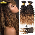 Grade 8a Malaysian Deep Wave With Closure Ombre 3 Bundles Deep Curly Virgin Hair With Lace Closure Ombre Human Hair With Closure