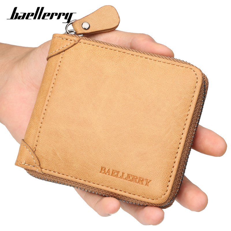 Baellerry Small Wallet Card-Holder Coin-Purse Zipper Synthetic-Leather Male Men's Casual