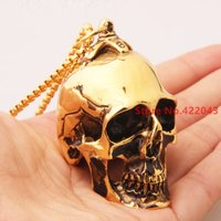 43*36mm Charming 105g  Heavy Gochic Punk Stainless Steel Gold Tone Skull Heads Bike Pendant Necklace Mens Boys Xmas Gift