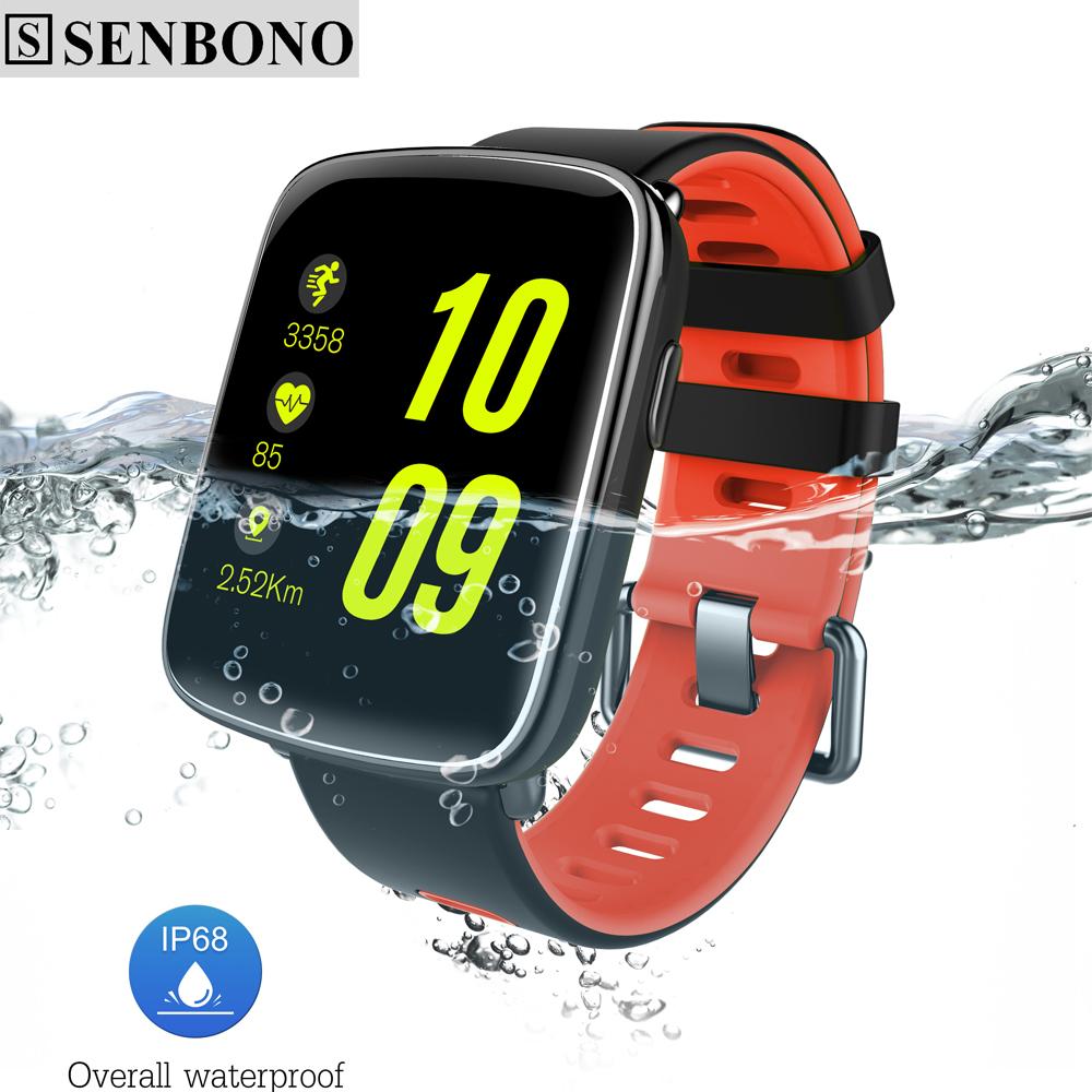 Prix pour Senbono sbn68 bluetooth smart watch ip68 étanche mtk2502 smartwatch podomètre sédentaire d'alarme pour ios android téléphone