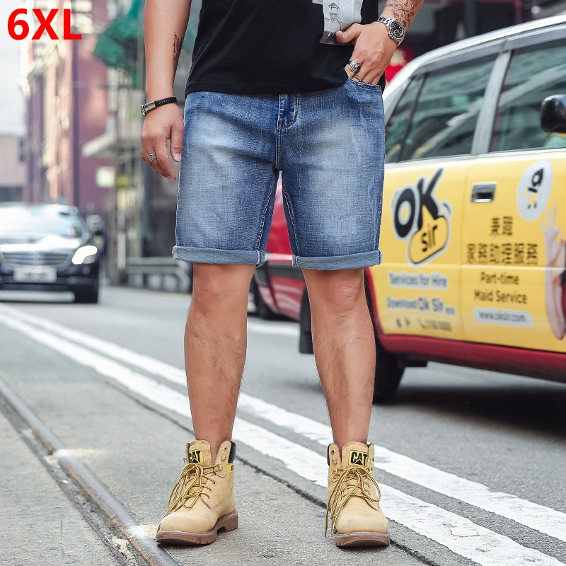 Large size shorts light blue men Summer small colored denim shorts men's casual shorts