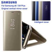 Original de SAMSUNG espejo claro ver teléfono caso EF-ZG955 para Samsung Galaxy S8 G9500 S8 + S8 más SM-G955 Rouse slim Flip caso