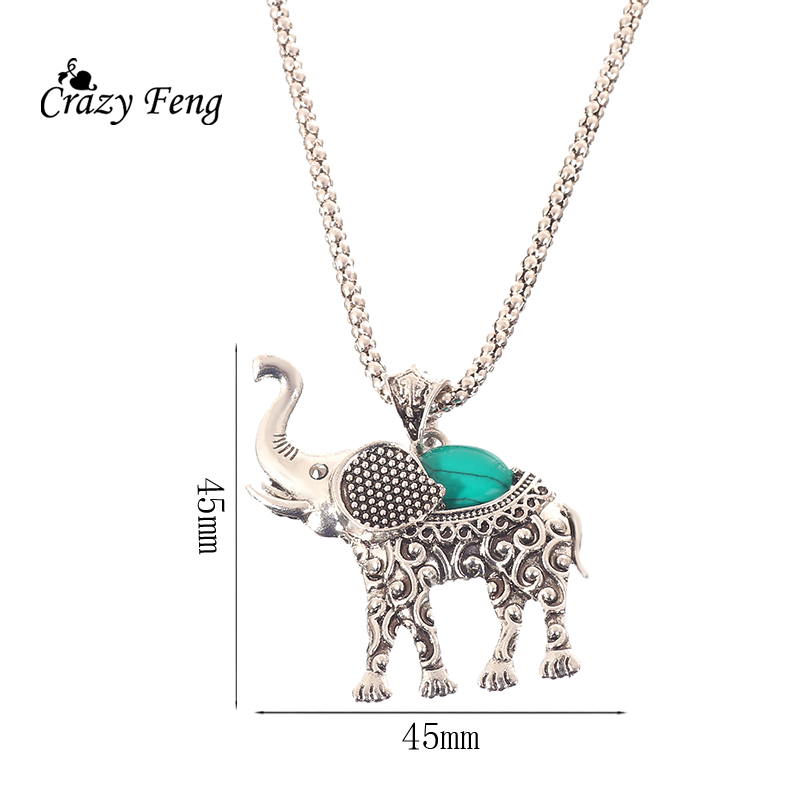 HTB1E7ktQpXXXXXDapXXq6xXFXXXN - Fashion Green African Jewelry Sets for Women Vintage Silver Color Elephant Pendant Necklace Earrings Bracelets Jewellery Gift