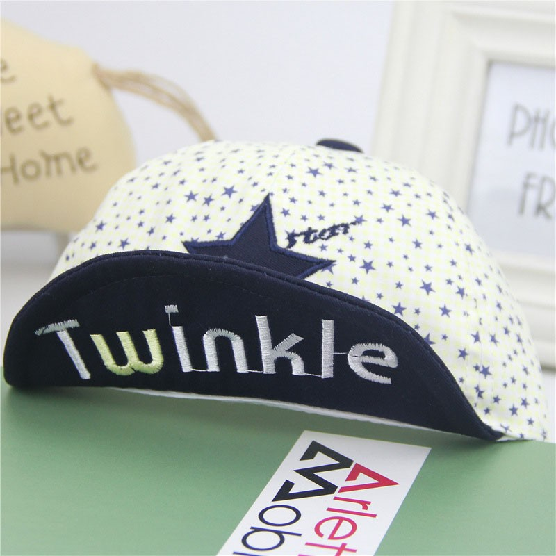 Close Up of Embroidered Twinkle and Star Baby's Baseball Cap - Brim Up, Blue