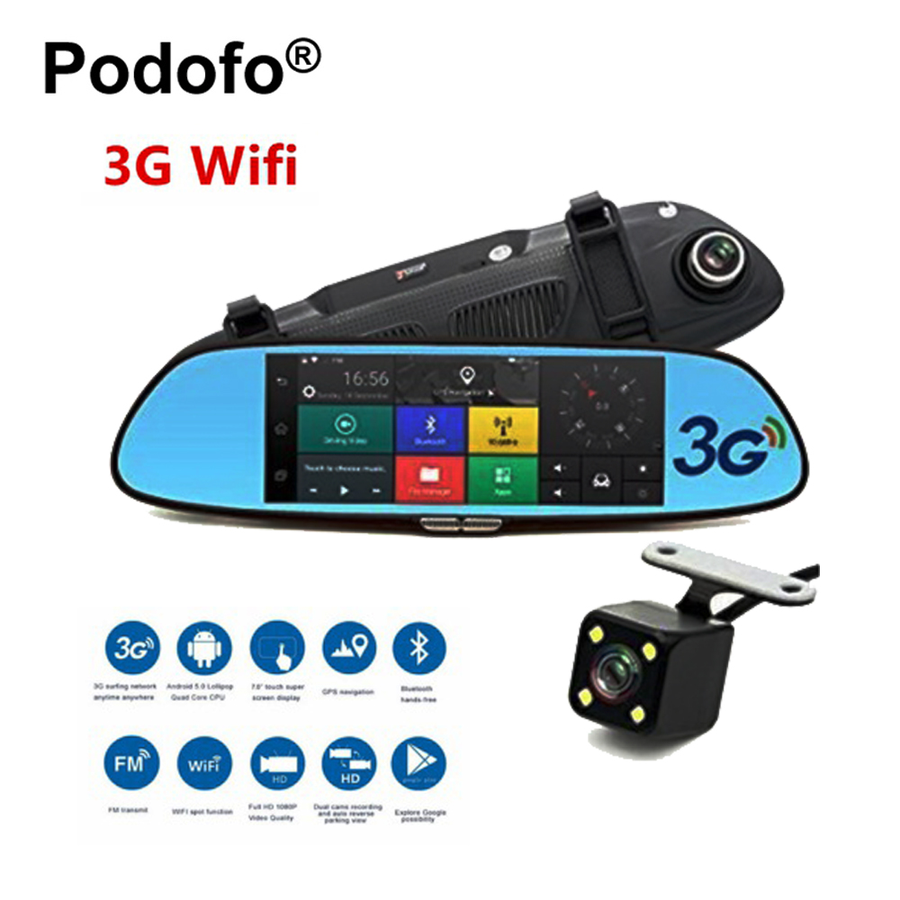 Podofo 3G Car DVR 7 Android 5.0 GPS Registrar Navigation Video Recorder Bluetooth WIFI Dual Lens Camera Rearview Mirror Dashcam 2 7 inch r310 tft lcd dual 2 lens car dvr video recorder
