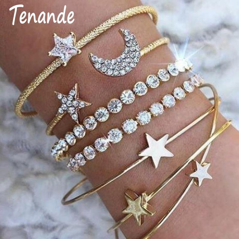 Tenande Punk Open Small Stars Moons Love Hearts Crystal Bracelets Bangles Fresh 4pcs/Set Jewelry