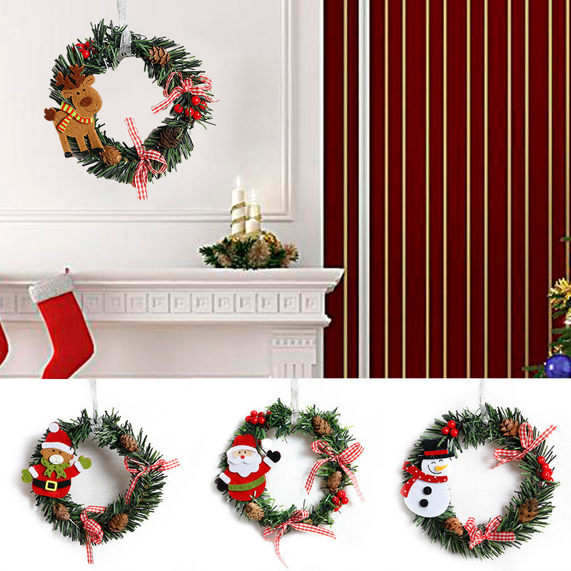 aliexpresscom buy small christmas wreath cartoon with pines merry christmas wreaths mini xmas new year garland nice gift xmas wreath dia 15cm from - Small Christmas Wreaths