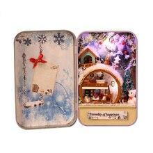 Snow Holiday 3D Wooden DIY Handmade Box Secret Dollhouse Miniature Box Cute Mini Doll House Assemble Kits Gift Toys
