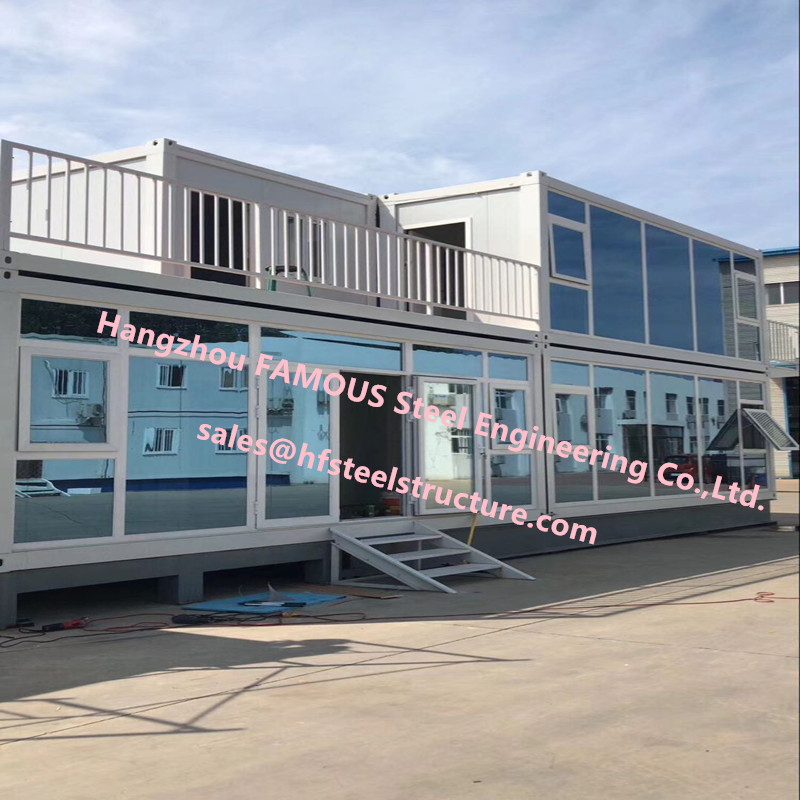 Foldable Flat Pack Container House With Glass Facade Decoration For Office Use