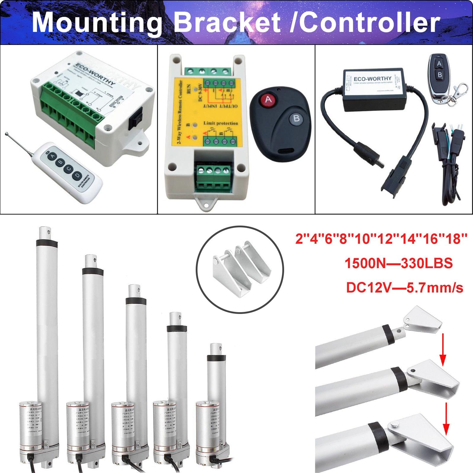 """2 Linear Actuators W// Wireless Controller Brackets Kit 16/"""" 330lbs 1500N DC Motor"""