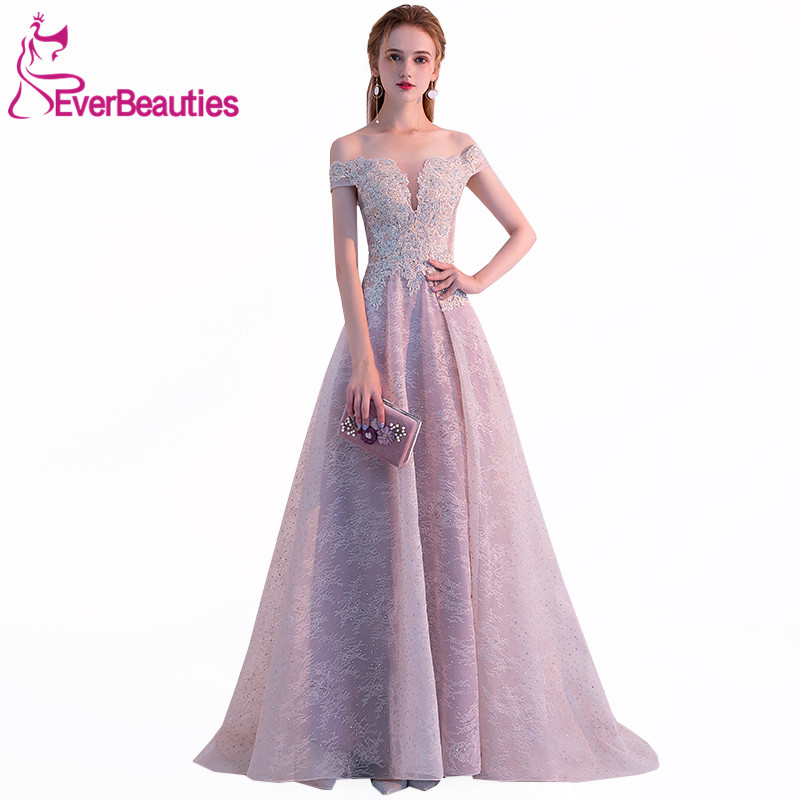 Elegant   Evening     Dress   Long 2019 Lace   Evening   Gowns Off The Shoulder Prom Party   Dresses   Vintage Robe De Soiree
