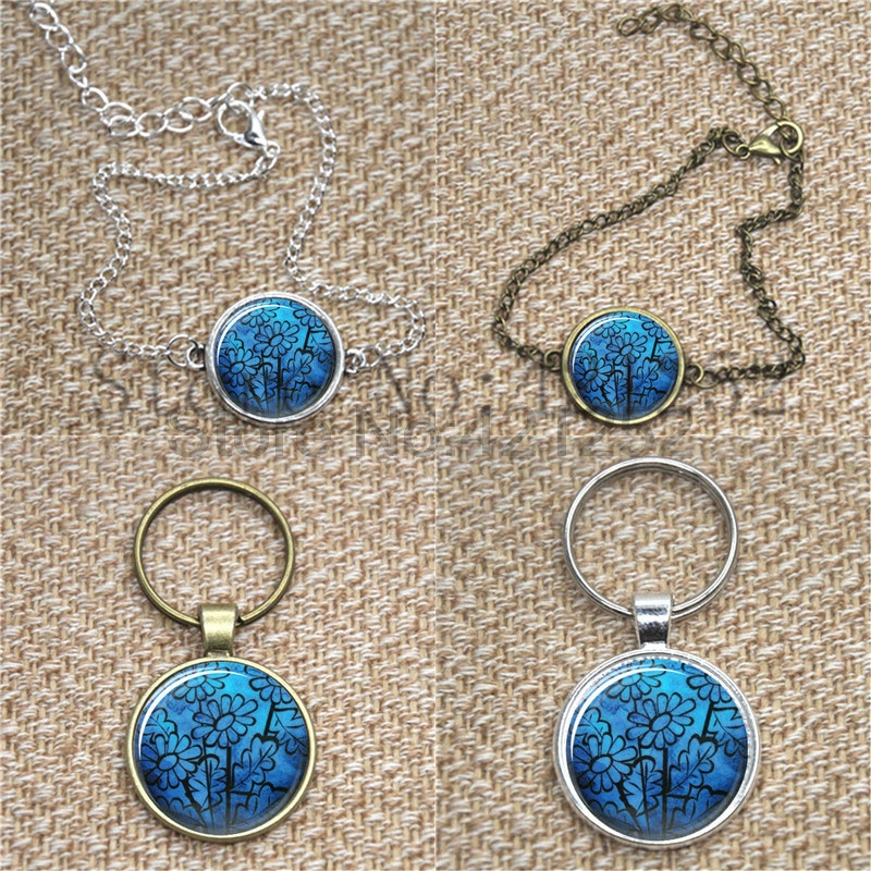 Cobalt blue vector flowers jewely Art Pattern necklace keyring bookmark cufflink earring