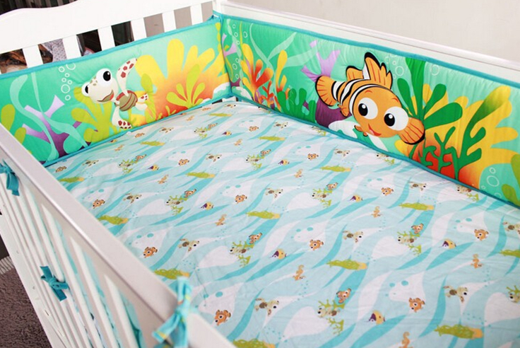 Promotion! 5pcs Embroidery Baby Bedding Set Baby Sheet Baby Bed Linens For Girl Boy Detachable,include (4bumper+bed Cover)
