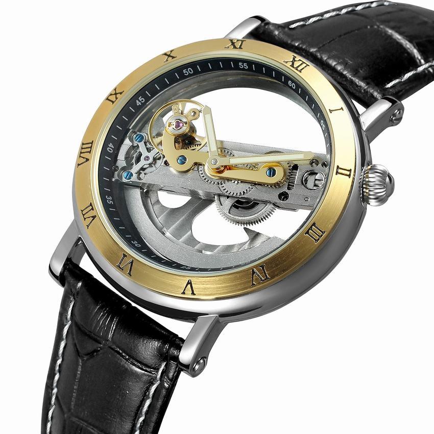 럭셔리 중공업 자동 기계 남성 패션 블랙 가죽 손목 시계 투명 해골 비즈니스 캐주얼 자기 바람 시계-에서기계식 시계부터 시계 의  그룹 1