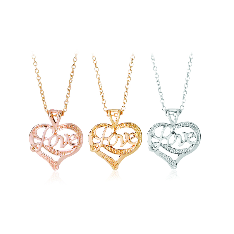 creative monogram necklaces letter love pendant necklace for women girlfriend silver rose gold plated jewelry mother