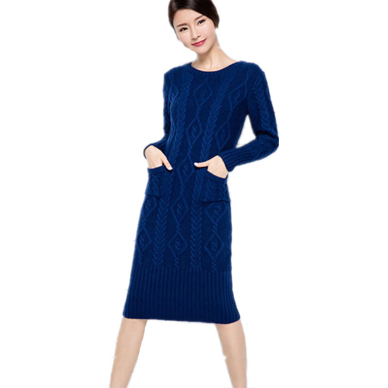 Women Knitwear 2017 Autumn Winter Knitted Dress O-Neck Casual Solid Color RibThick Sweater Dresses Cotton Striped Loose Dress