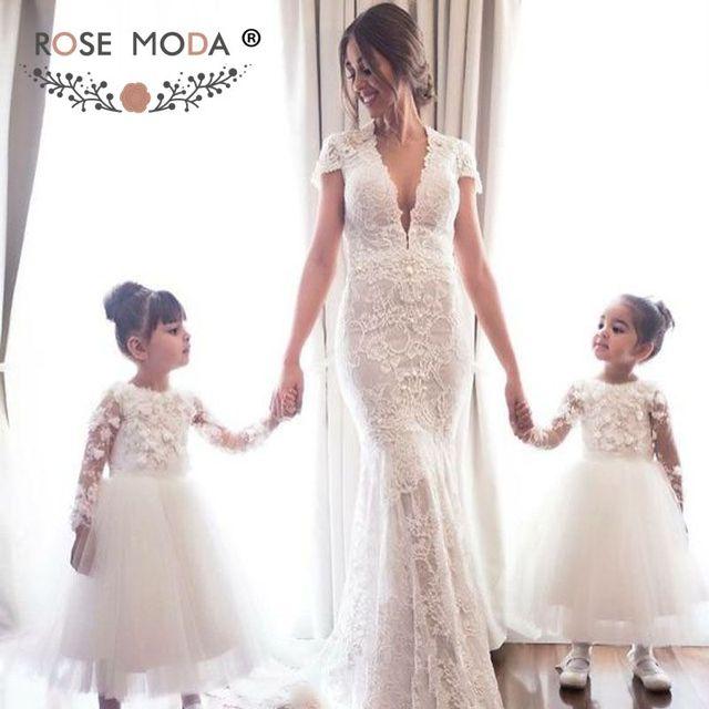 29368f88f611 Rose Moda Cap Sleeves Chantilly Lace Mermaid Wedding Dress Backless Boho Bridal  Dress 2019